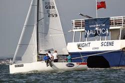J/70 sailing Round Island Race off Cowes, England