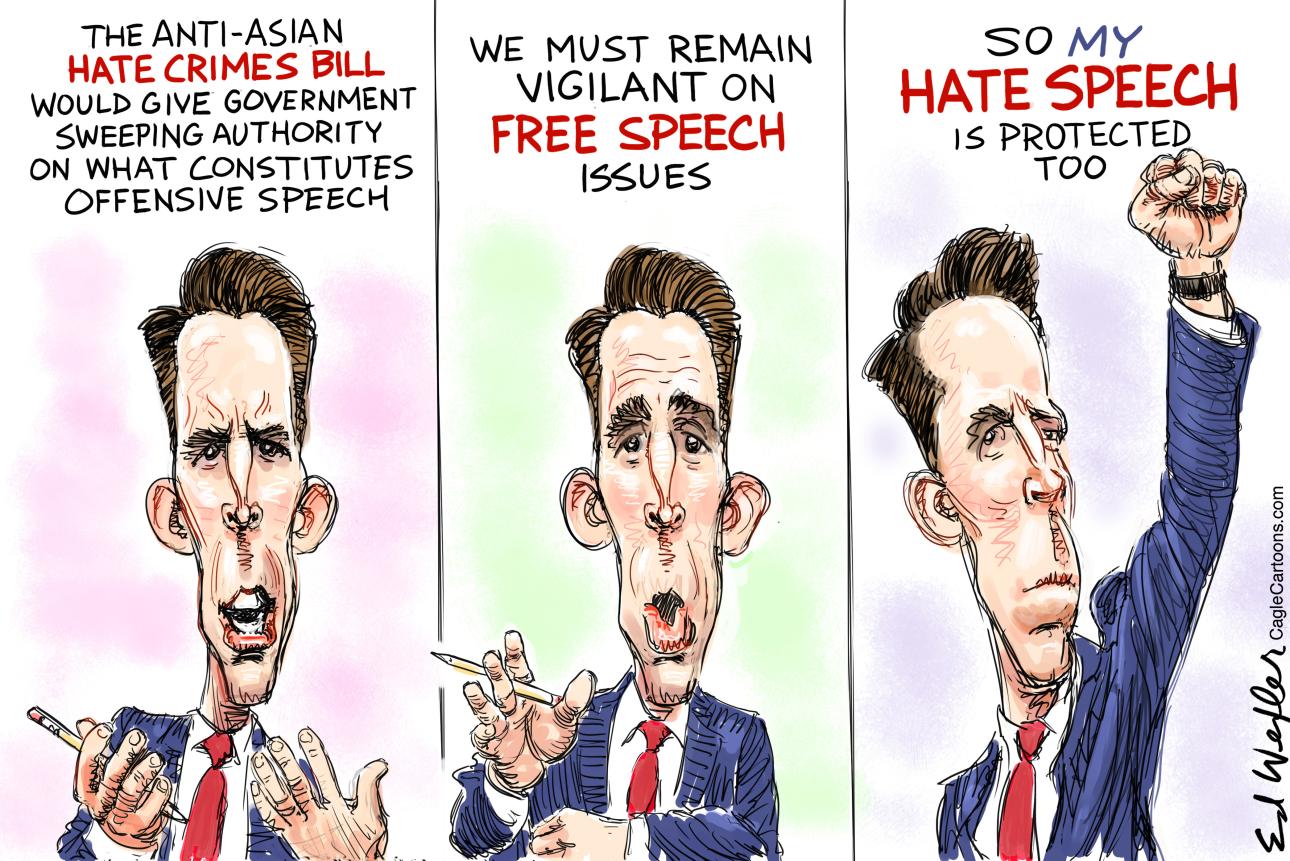 Senator Hawley uses racist hate speech for political purposes.