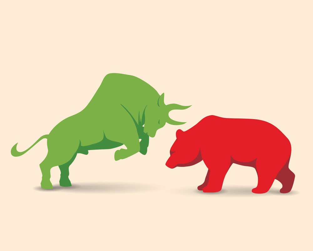 A bull up against a bear