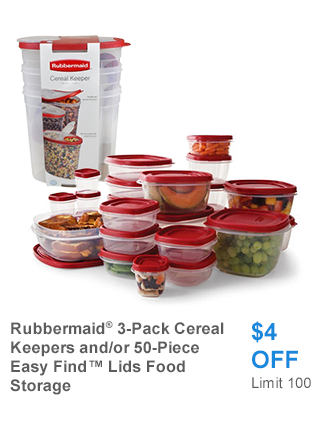 Rubbermaid 3-Pack Cereal Keepers and/or 50-Piece Easy Find Lids Food Storage