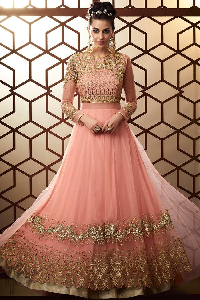 Pink Net Wedding Anarkali Suit