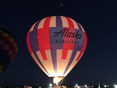 Alaska Airlines hot air balloon lights up the Albuquerque sky