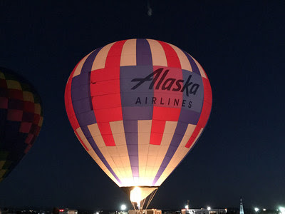 Alaska Airlines hot air balloon lights up the Albuquerque sky