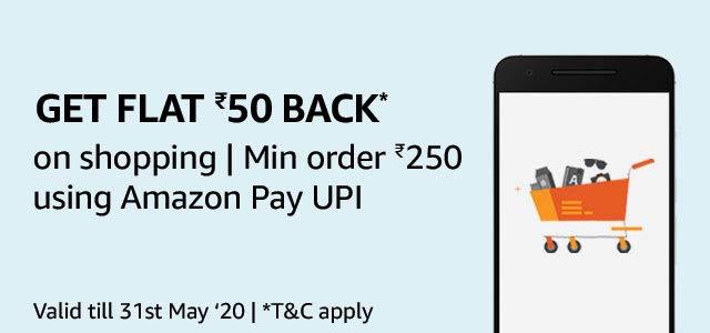 Amazon casshback offer, Amazon Rs 50 cashback on shopping Rs 250 min