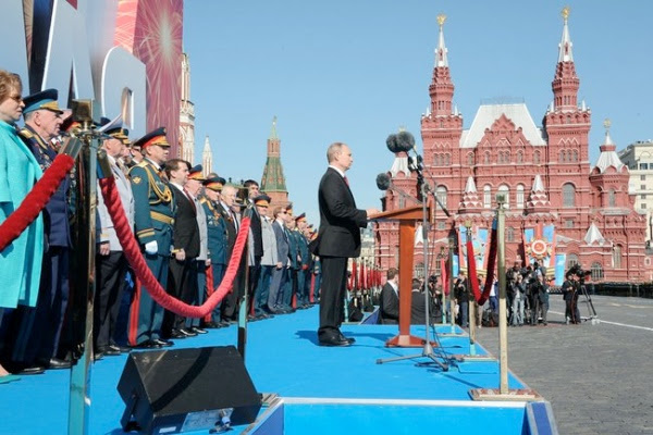 """This is the day of our national triumph, people's pride, the day of grief and an imperishable memory,"""" Putin said in his Victory Day address to Russians on May 9, 2014 at the Red Square in Moscow, Russia [PPIO]"""