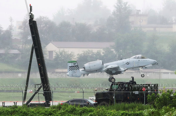 An American A-10 Warthog landed at Osan Air Base in Pyeongtaek, South Korea, on Thursday.