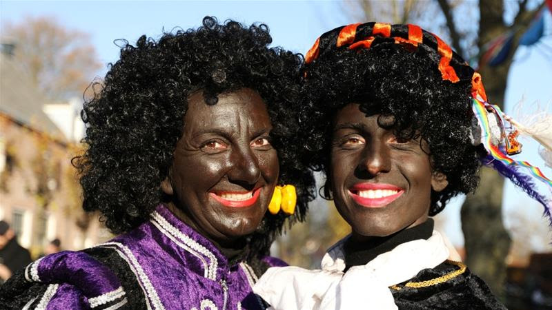 This year, Sinterklaas' arrival on November 17 was greeted by protests against Black Pete in 18 cities across the Netherlands [Eva Plevier/[Reuters]