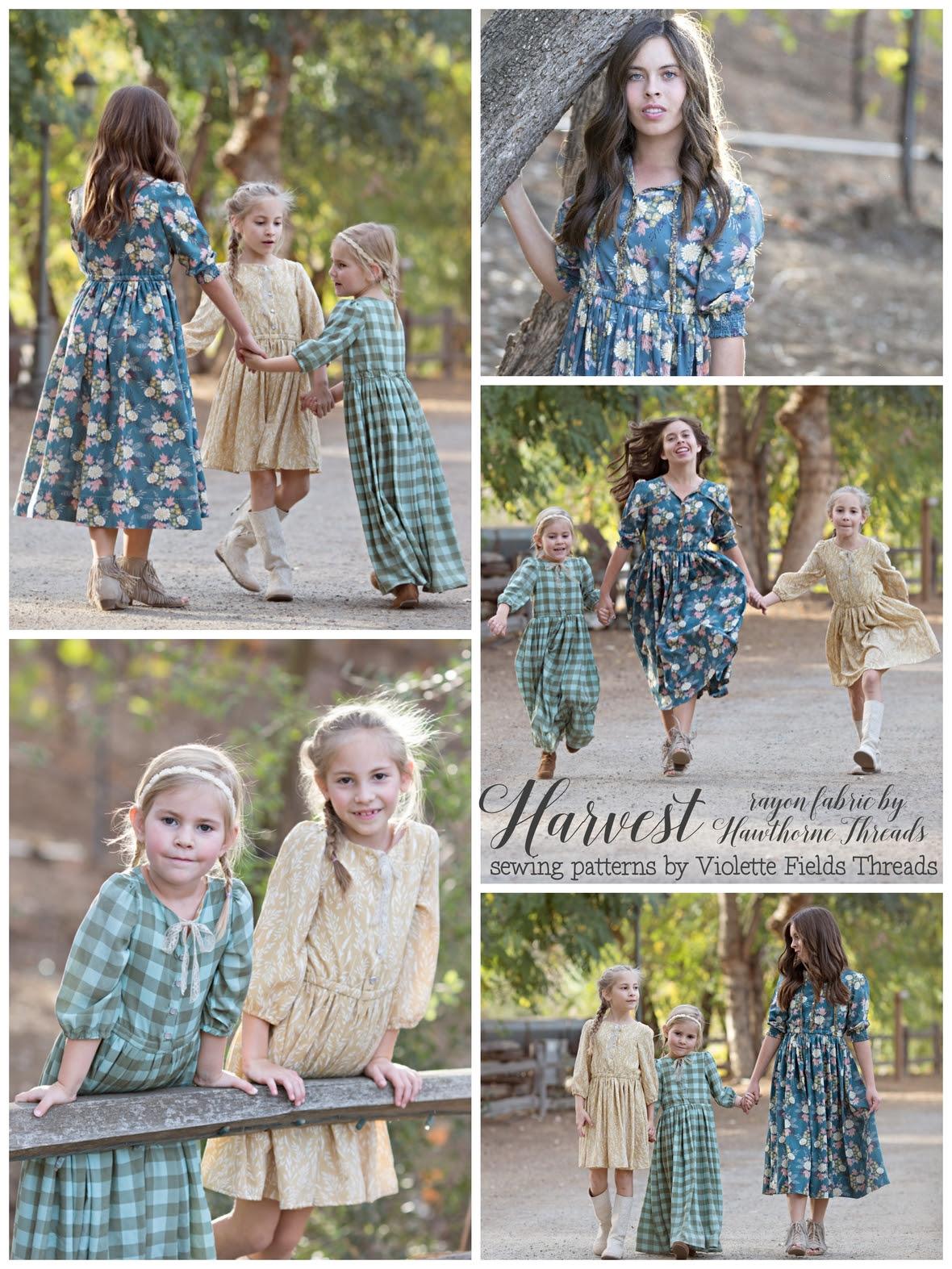 Harvest Rayon Fabric Dresses Violette Fields Threads Pattern