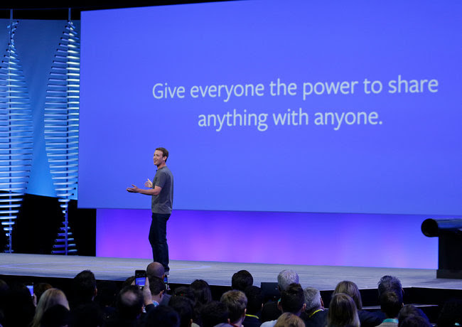 The chief of Facebook, Mark Zuckerberg, at a conference in April.