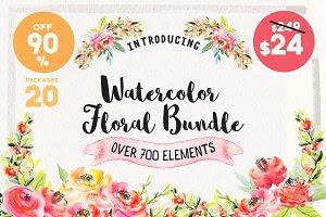 Watercolor Floral Bundle 90% OFF