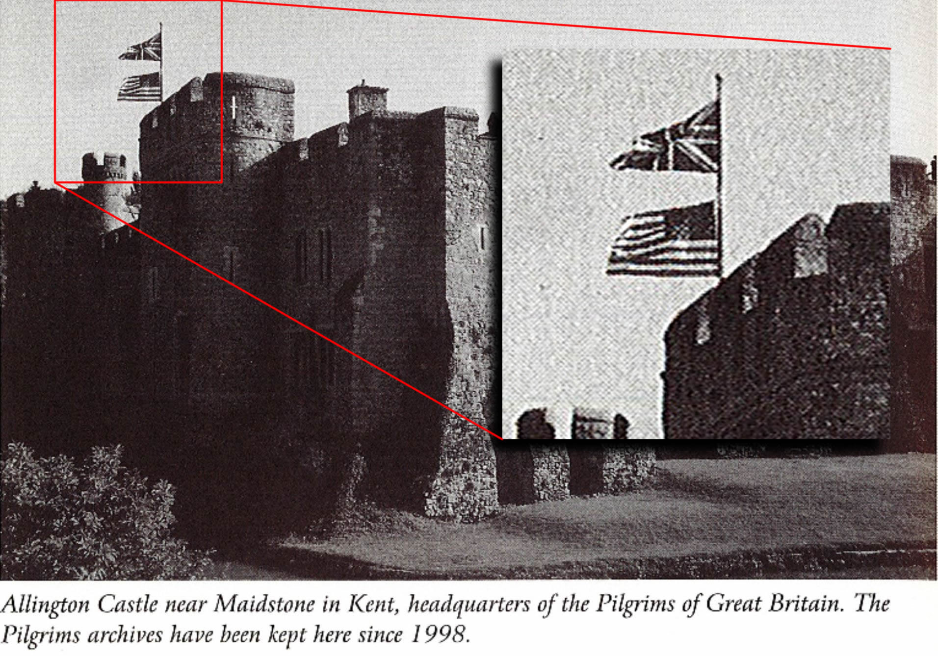 British and American Pilgrims Society archives have been kept at Allington Castle since 1998. Anne Pimlot Baker. (2002). The Pilgrims of Great Britain - A Centennial History, p. 176. Profile Books. Notably, this photo is not contained in the United States version of this book.