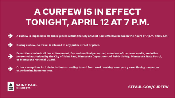 Curfew in effect tonight at 7 p.m.