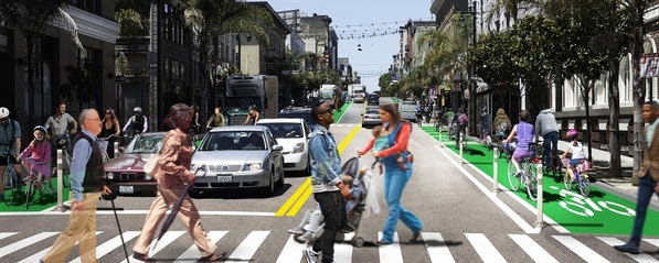 An artist's rendering of Polk Street at Geary that shows zebra-striped crosswalks and bike lanes with soft-hit posts in the area.