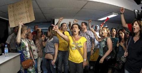 Un grupo de funcionarios, el pasado verano, en una protesta en la Secretaría de Estado de Administraciones Públicas.