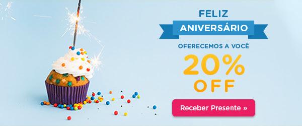 Feliz Aniversário - Oferecemos-lhe 20% de Desconto