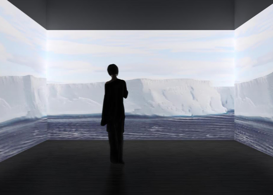 A silhouette of a person stands in front of an antarctic landscape projected on to a white cube space.