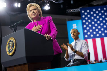 Hillary Clinton at a campaign rally with President Obama in Charlotte, N.C., on Tuesday.