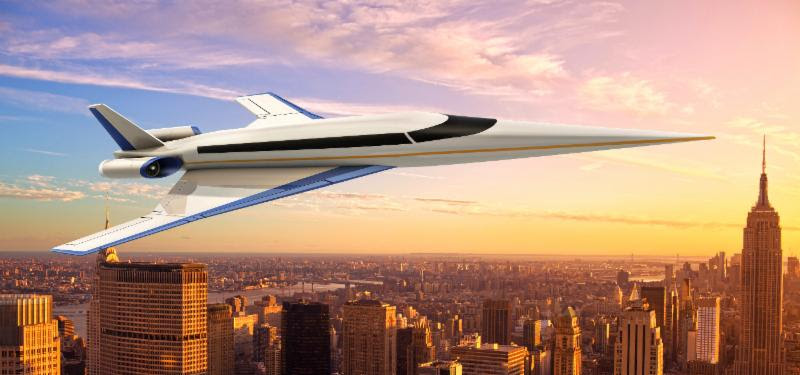 The Spike S-512 Quiet Supersonic Jet flies over a city at sunrise