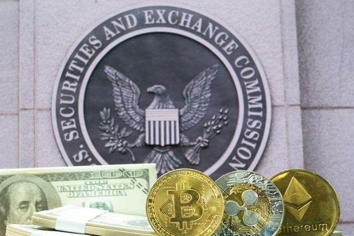 A photo of the SEC building, overlaid with cash and cryptocurrency