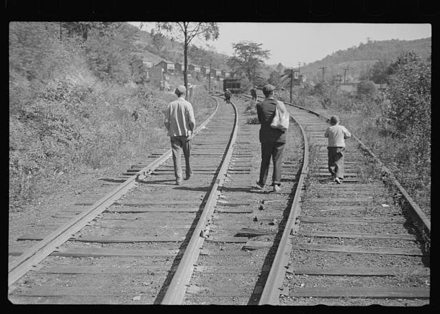 [Untitled photo, possibly related to: Scotts Run, West Virginia, walking into town for relief food]