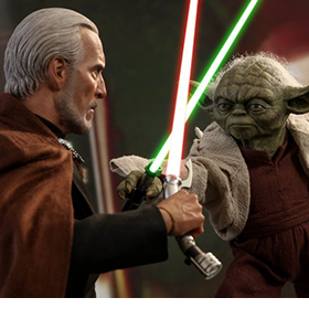 ATTACK OF THE CLONES YODA & COUNT DOOKU 1/6TH SCALE COLLECTIBLE FIGURES