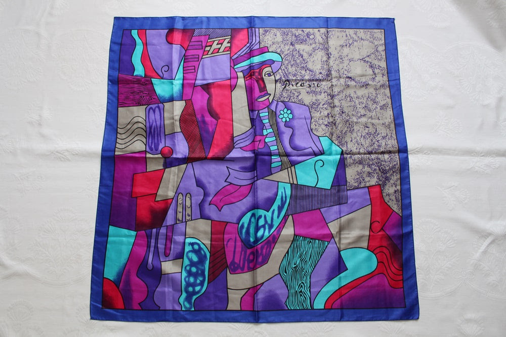 VINTAGE PICASSO PRINT PURPLE LARGE SCARF