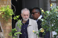 Jeremy Corbyn, the leader of the Labour Party, leaving his home in London on Sunday. His office insisted that he would remain as leader.