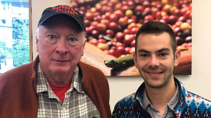 Pictured Above: Richard Lyon '68 andGabriel Oppler '17 connected inBozeman, MT after meeting throughHaverford Connect.