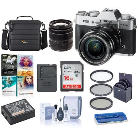 X-T20 Mirrorless Digital Camera Body, with XF 18-55mm F2.8-4 R LM OIS Lens, Silver - Bundl