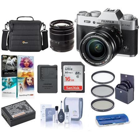 X-T20 Mirrorless Digital Camera Body, with XF 18-55mm F2.8-4 R LM OIS Lens, Silver - Bundl