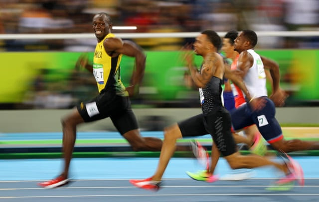 Usain Bolt, Andre De Grasse (again), and the rest in the men's 100m semi-finals.