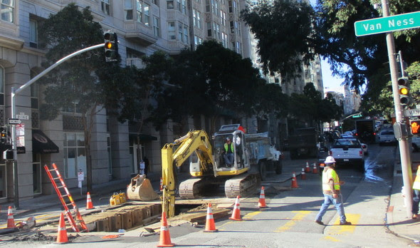 Crews work on sewer installation at Van Ness and Pine