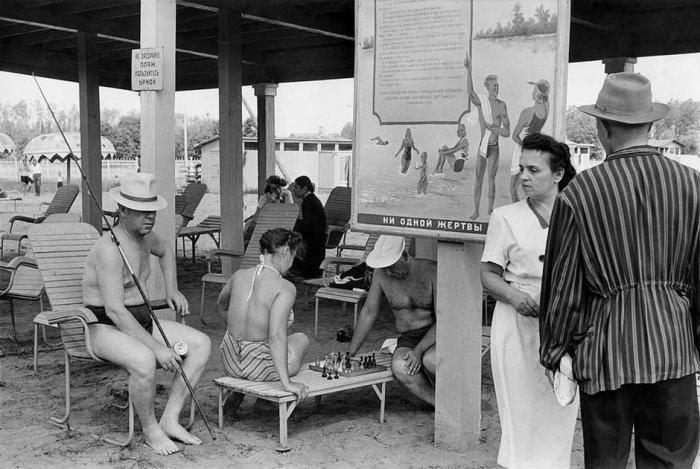 Отдыхающие в Серебряном бору. СССР, Москва, 1954 год.