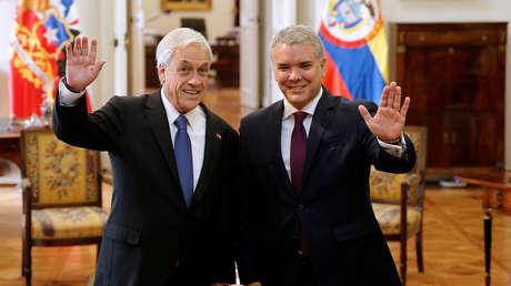 Los presidentes de Chile, Sebastián Piñera, y Colombia, Iván Duque, en Santiago, 21 de marzo de 2019