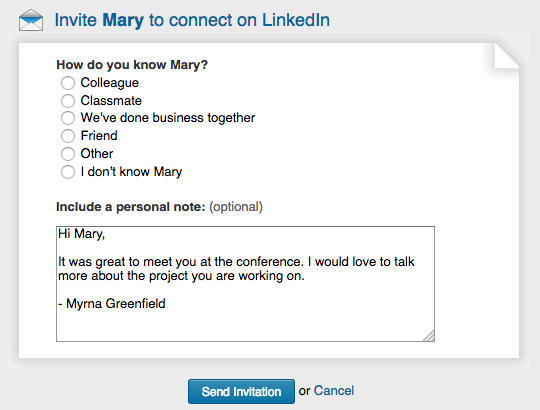 Image of an effective linkedin message to connect