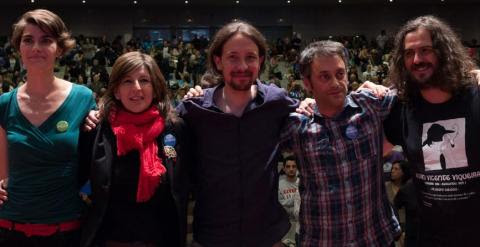 Rosa Martínez, Yolanda Díaz, Pablo Iglesias, Xulio Ferreiro (candidato de la Marea Atlántica al Concello de A Coruña) y Antón Sánchez, en un mitin celebrado el martes.