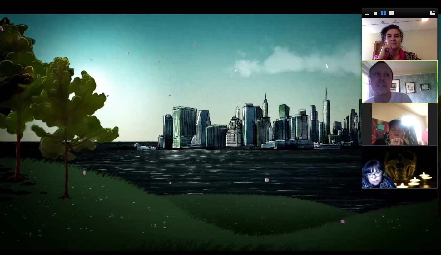 video meeting of Kaddish for Bernie Madoff team with animation draft