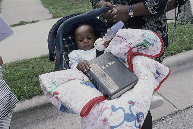 Baby Dorion outside the New Friendship M. B. Church, Harvey, Il., 2003