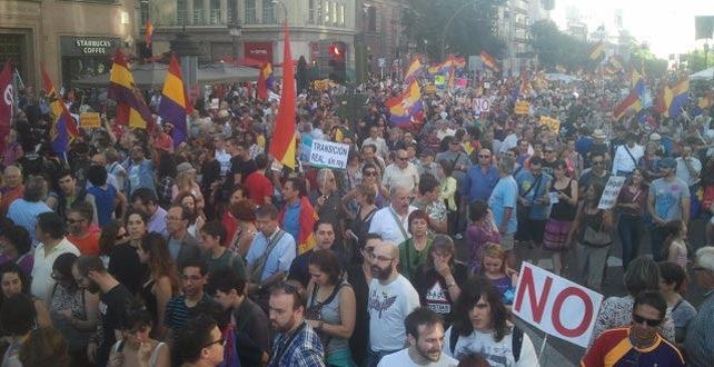 Imagen de la marcha que ha recorrido este sábado las principales calles del centro de Madrid.