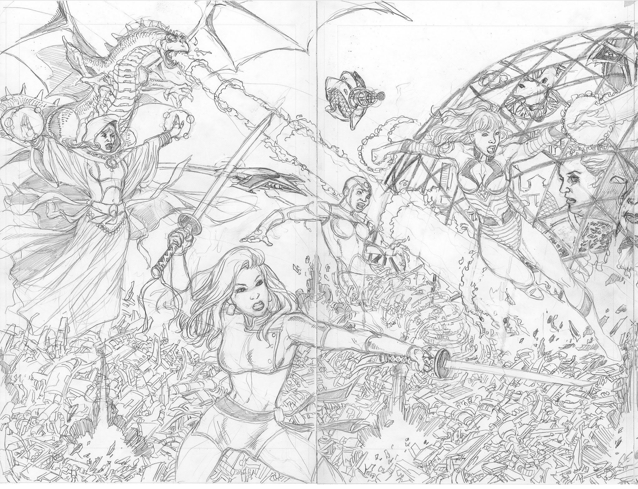 GEORGE PÉREZ'S SIRENS #1 Pencils Left-Side Cover D by George Pérez