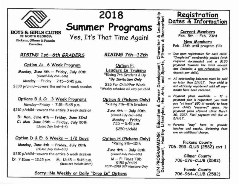 2018 Summer Programs boys _ girls club