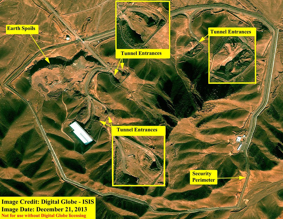 A zoomed in map showing the entrance through the perimeter fence to the top left and further tunnel entrances positioned in the top right section of the mountain range