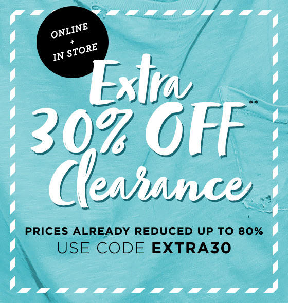 Extra 30% Off Clearance + Free...