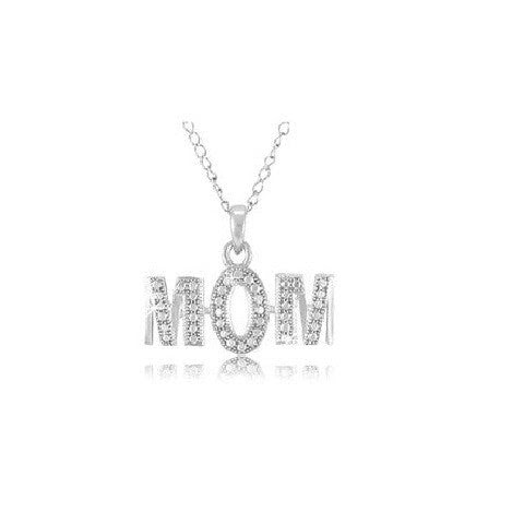 STERLING SILVER MOM PENDANT WI...