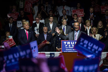 """Nigel Farage, right, the outgoing Independence Party leader in Britain credited with leading the """"Brexit"""" movement, joined Donald J. Trump at a campaign event in Jackson, Miss., on Wednesday."""