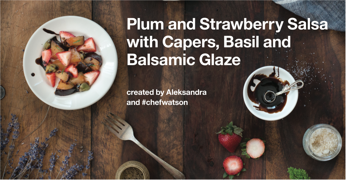 Plum and Strawberry Salsa with Capers, Basil and Balsamic Glaze
