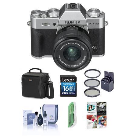 X-T20 24.3MP Mirrorless Digital Camera with XC 15-45mm F3.5-5.6 OIS PZ Lens, Silver - Bund