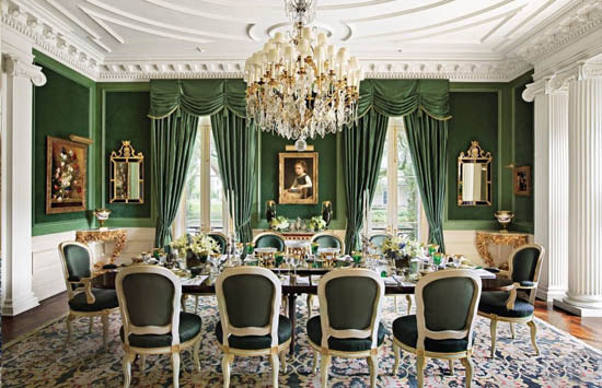 traditional green dining room by alexa hampton
