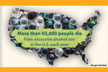 The figure is a group of glass bottles arranged in the shape of the United States with text about the number of people who die each year from excessive alcohol use.