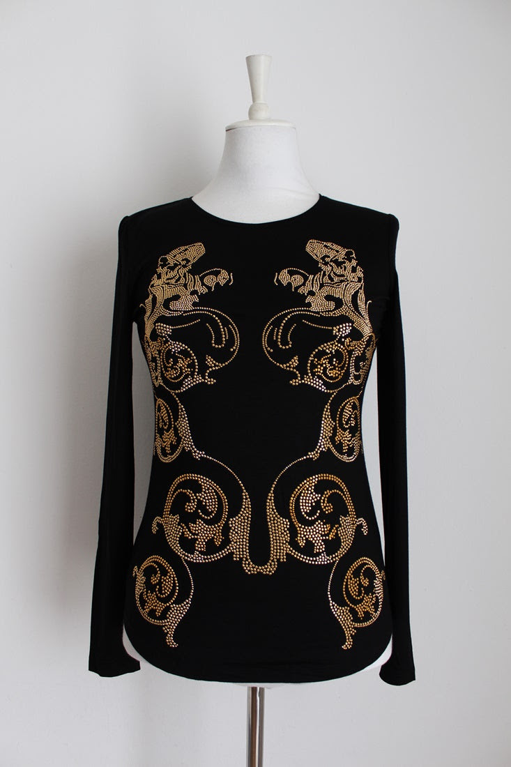 VERSACE JEANS DESIGNER STUDDED T-SHIRT - SIZE S